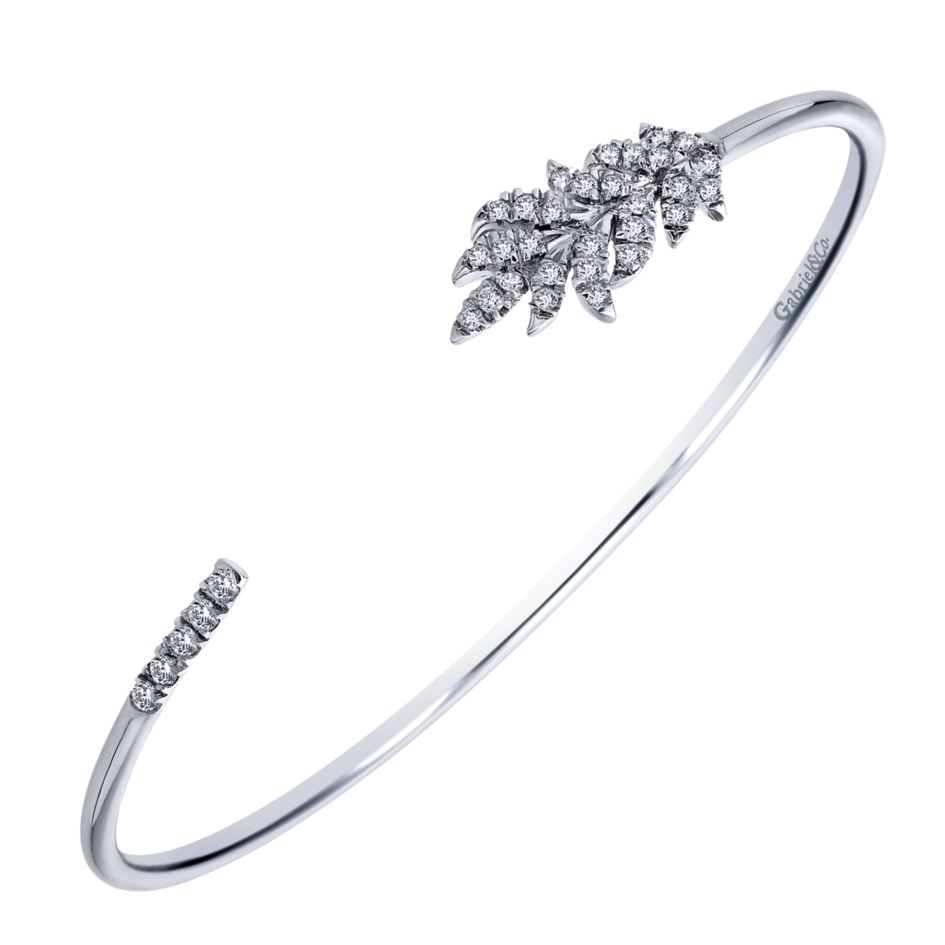 Ladies Silver Leaf Style Cuff Bracelet With Round White Sapphires