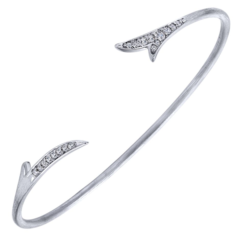 Ladies Silver Cuff Arrow Style Bracelet With Round White Sapphires