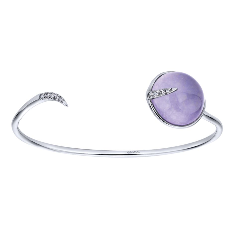 Ladies Silver Cuff Bracelet With Round White Sapphires And Rock Crystal Purple Jade