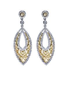White & Yellow Gold Filigre Diamond Earrings