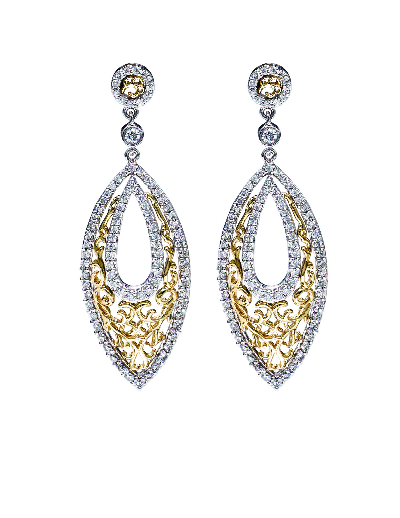 White & Yellow Gold Filigre Diamond Earrings