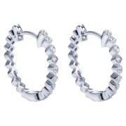 14K-Ladies White Gold Hoop Earrings With .09 Ct Round Diamonds Bezel Set