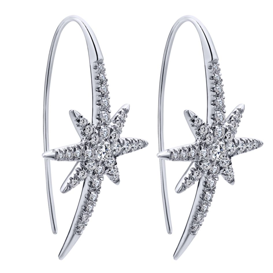 14k-ladies white gold starburst earrings with .75 ct round diamonds