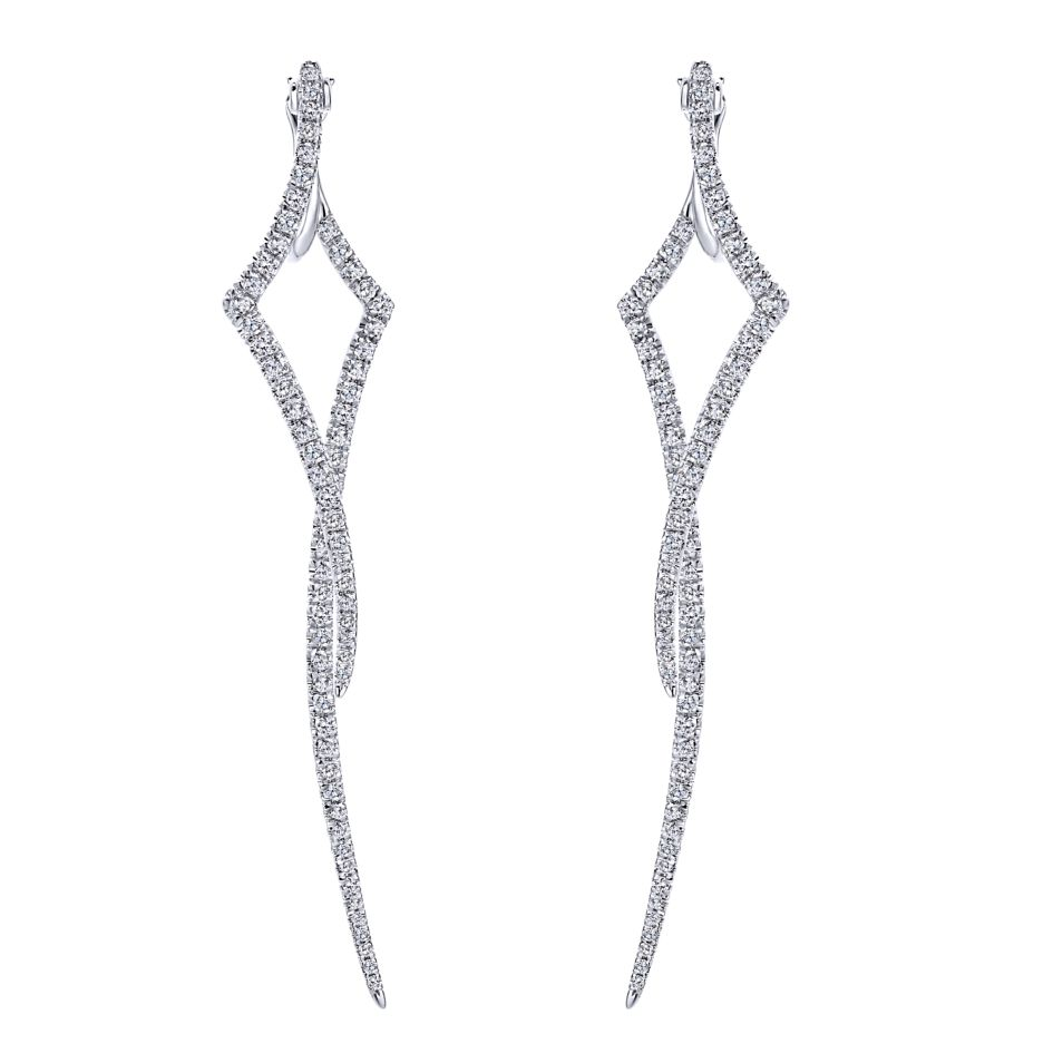 14k-ladies white gold fashion earrings with 1.00 ct round diamonds