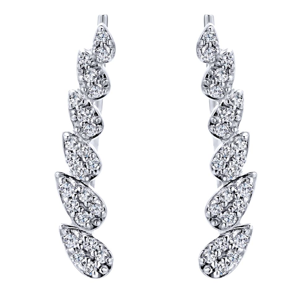 14K-Ladies White Gold .21Ct Round Diamond Ear Cuffs