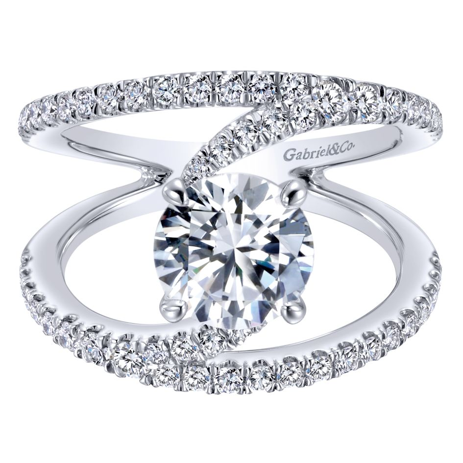 14K-Ladies White Gold Contemporary Style Split Shank Engagement Ring Mounting With .68 Ct Round Diamonds, Center Diamond Not Included