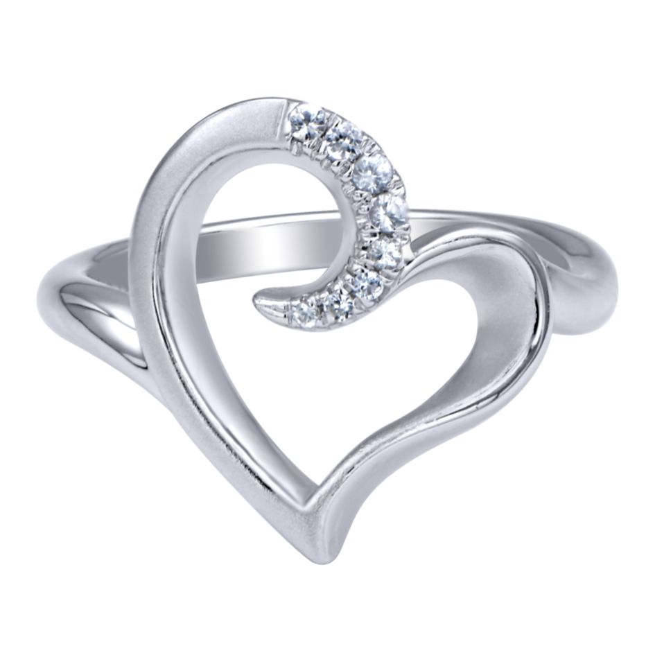 Ladies Silver Heart Ring With Round White Sapphires