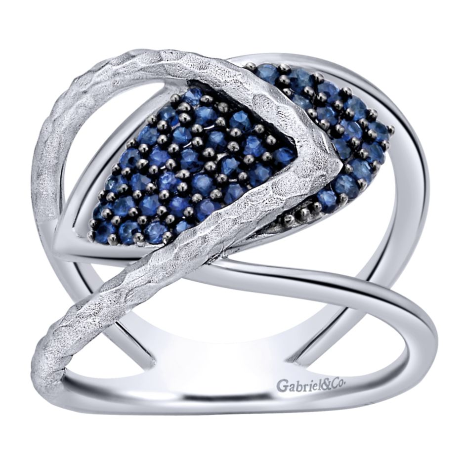 Silver Ladies Blue Sapphire Ring