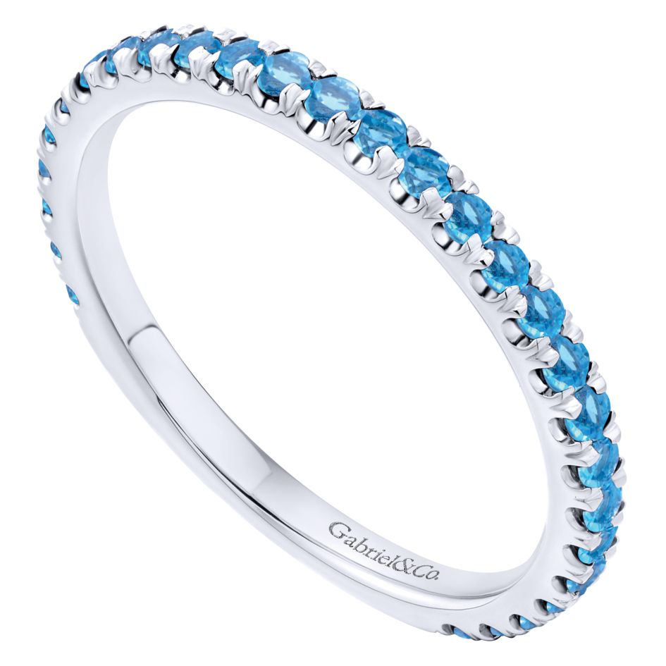 14K-Ladies White Gold Stack Ring With Swiss Blue Topaz