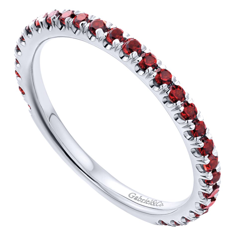 14K-Ladies White Gold Stack Ring With Garnets