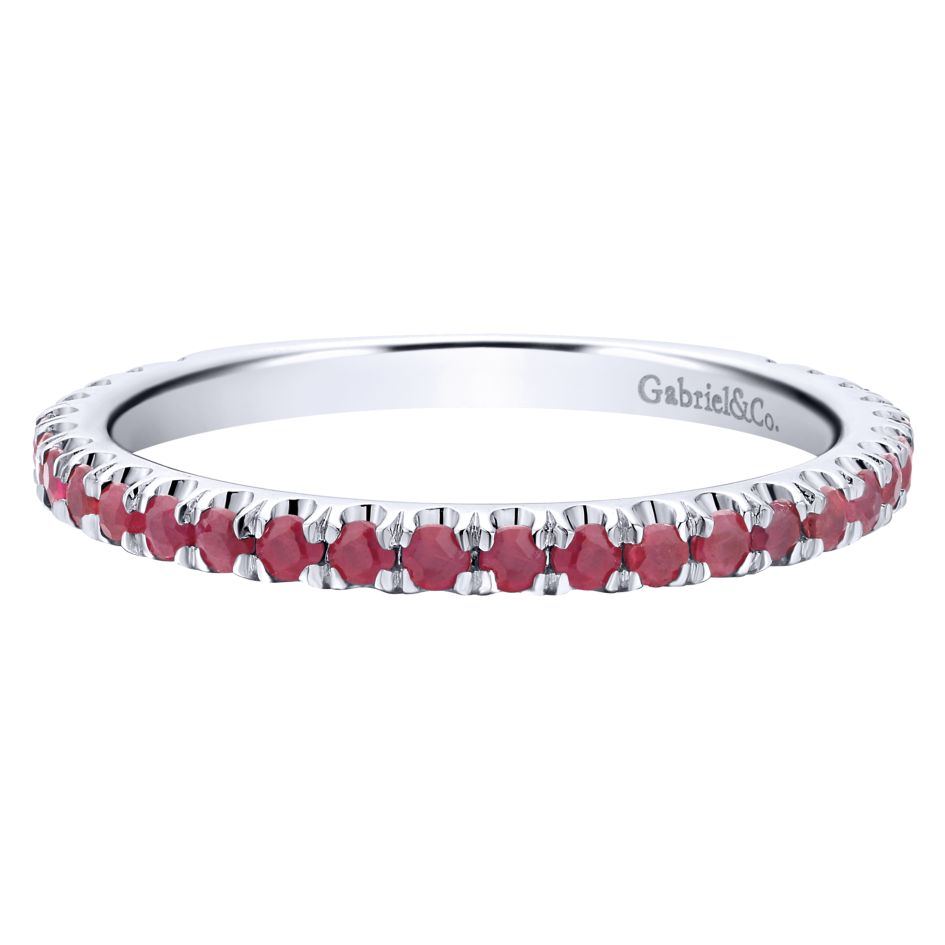 14K-Ladies White Gold Stack Ring With Rubies