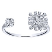 14K-Ladies White Gold  Open Starburst Ring With .27 Ct Round Diamonds