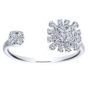 14K-Ladies White Gold Open Starburst Ring With .27 Ct Round Diamonds