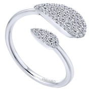 14K-Ladies White Gold  Split Shank Open Ring With .26Ct Round Diamonds