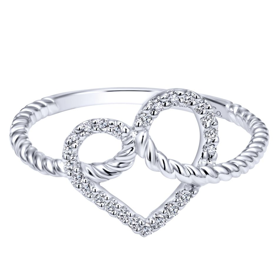 14K-Ladies White Gold Twisted Cable Style Heart Ring With .11 Ct Round Diamonds