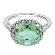 14K-Ladies White Gold Ring With .23 Ct Round Diamonds And Center Oval 4.04 Ct Green Amythyst