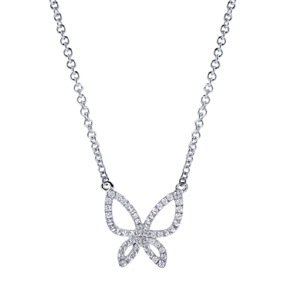 14K-Ladies White Gold Butterfly Necklace With .22Ct Round Diamonds