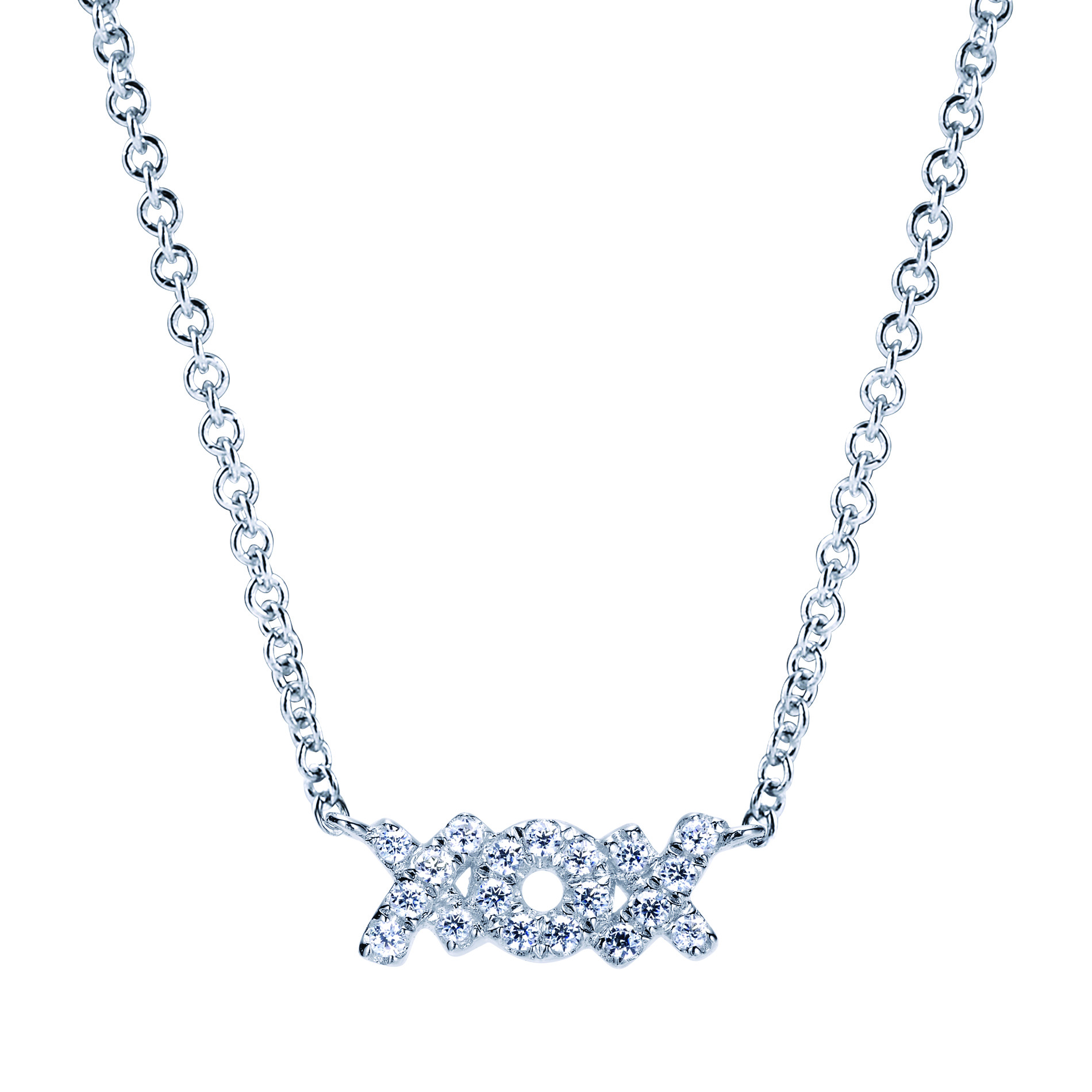 14K-Ladies White Gold XOX Necklace With .16 Ct Round Diamonds Pave Set