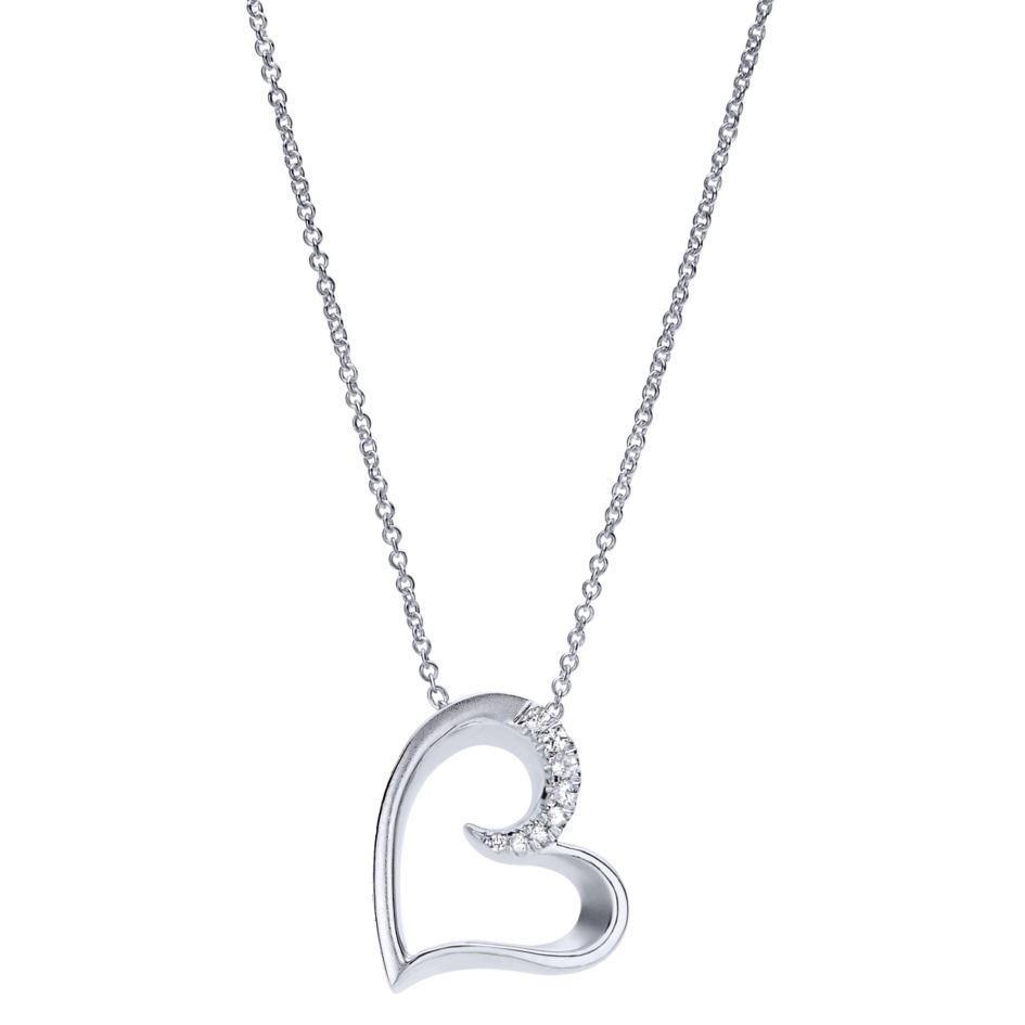 Ladies Silver Heart Necklace Set With Round White Sapphires