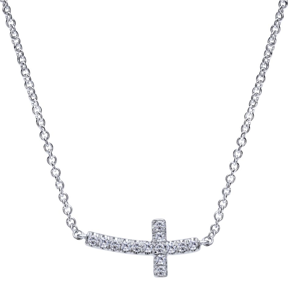 14K-Ladies White Gold Diamond Sideways Cross Necklace