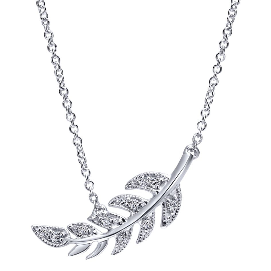 14K-Ladies White Gold Leaf Necklace With Diamonds