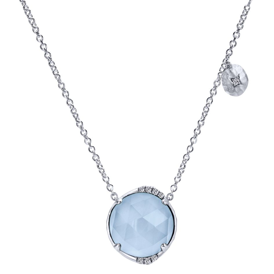 Silver Ladies Fashion Necklace With Diamonds And Rock Crystal & Blue Jade