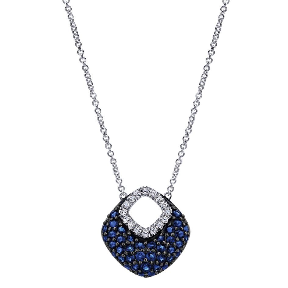 White gold diamond sapphire necklace nk4836 j douglas jewelers 14k ladies white gold triangle necklace with pave set blue sapphires and diamonds mozeypictures Images