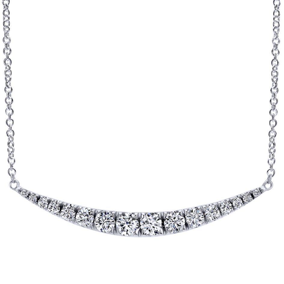 14K-Ladies White Gold Trapeze Style Diamond Necklace