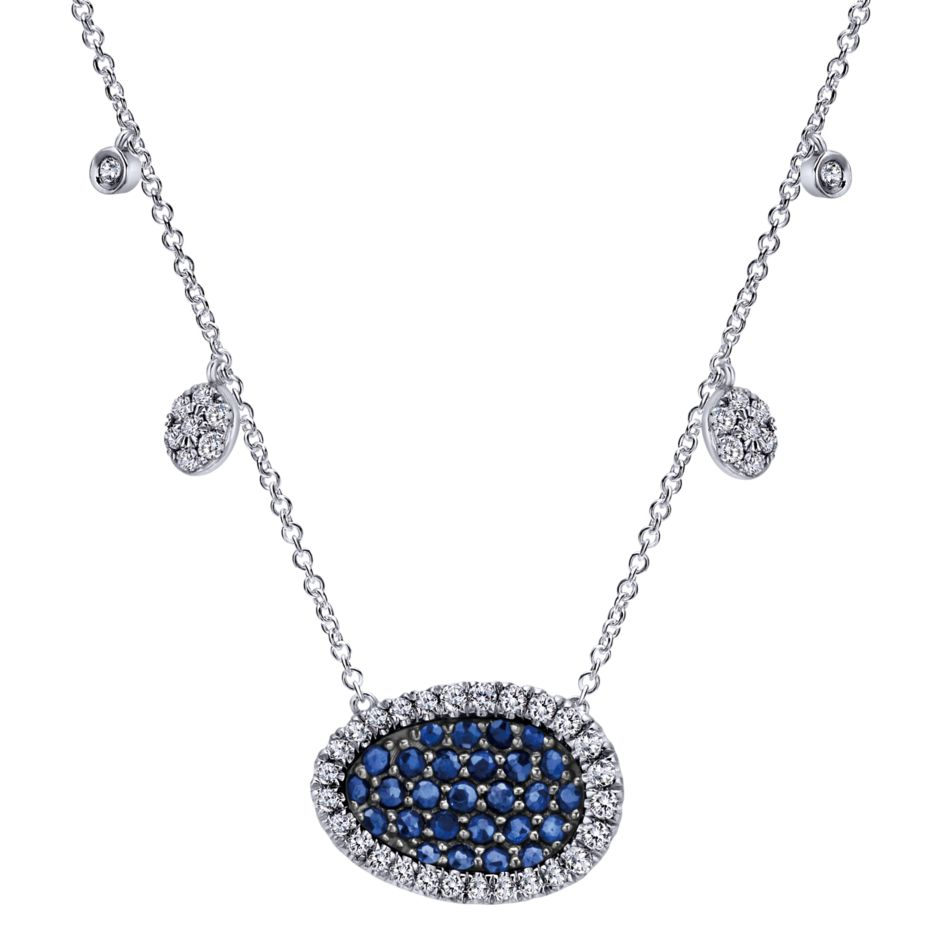 14K Ladies White Gold Blue Sapphire And Diamond Necklace