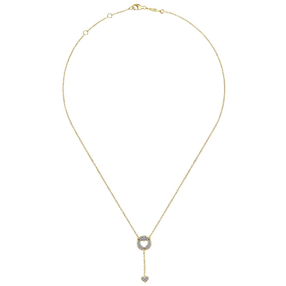14K-Ladies Heart Lariat Necklace With Pave Set Diamonds