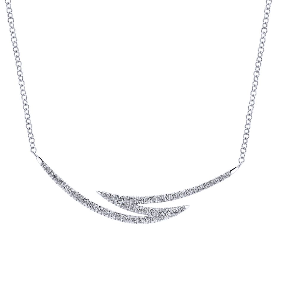14K-Ladies White Gold Fashion Necklace With .25 Ct Round Diamonds