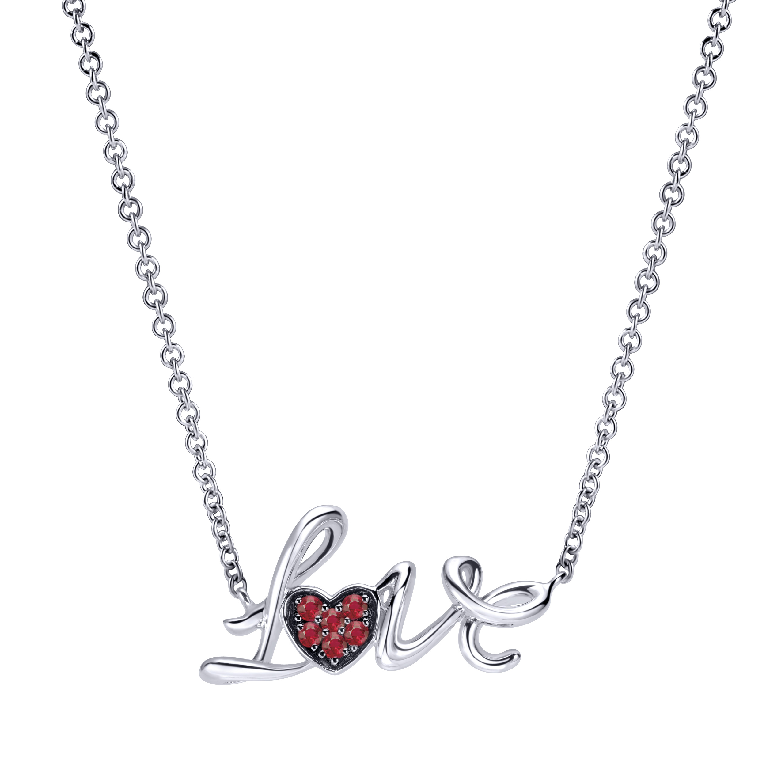 Ladies Silver Love Necklace With Pave Set Rubies In Heart