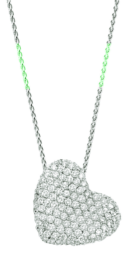 14K-Ladies White Gold Sideways Hanging Heart Necklace Set With .65 Ct Round Diamonds Pave Set