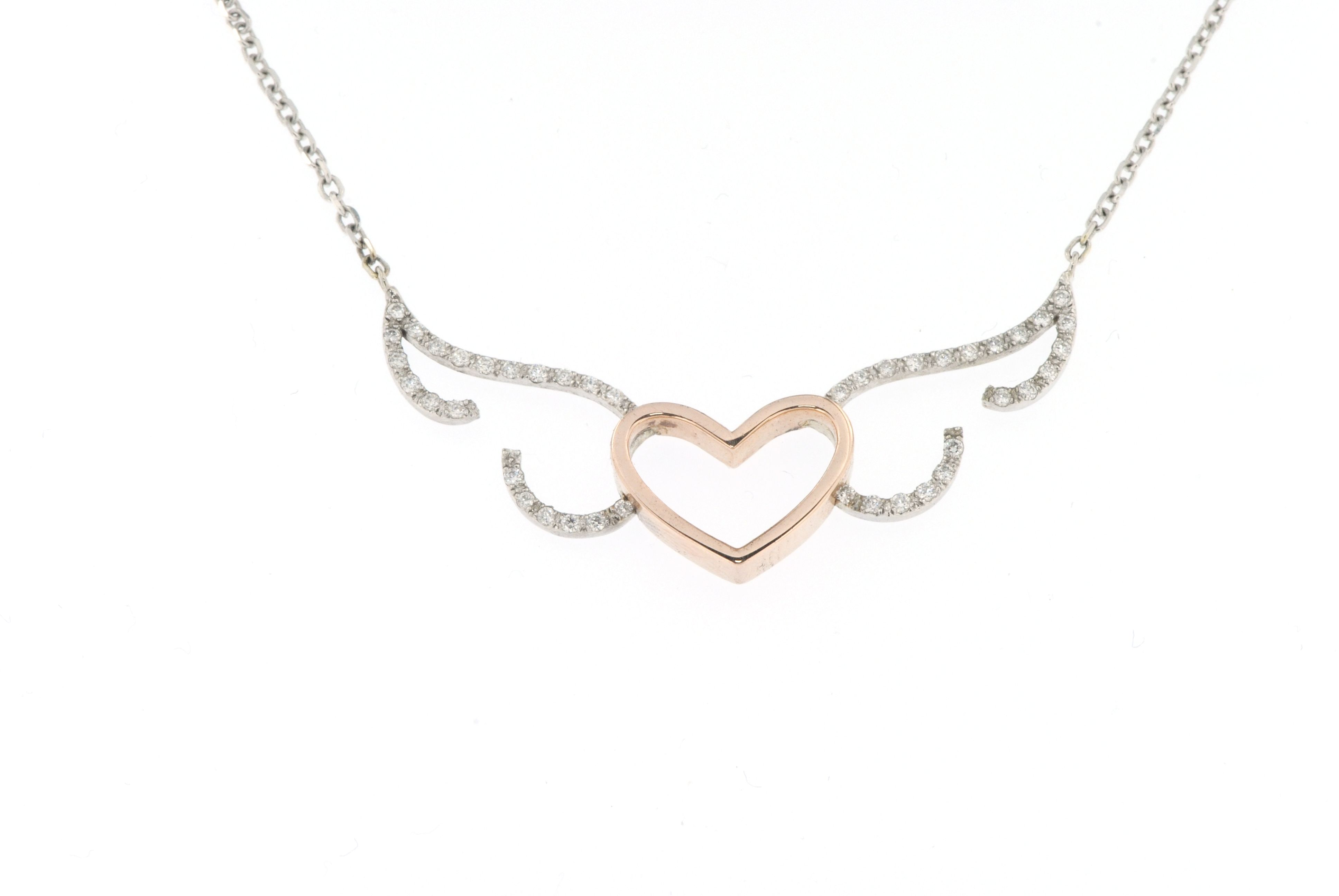 14k-ladies white and pink gold diamond heart and angel wings necklace