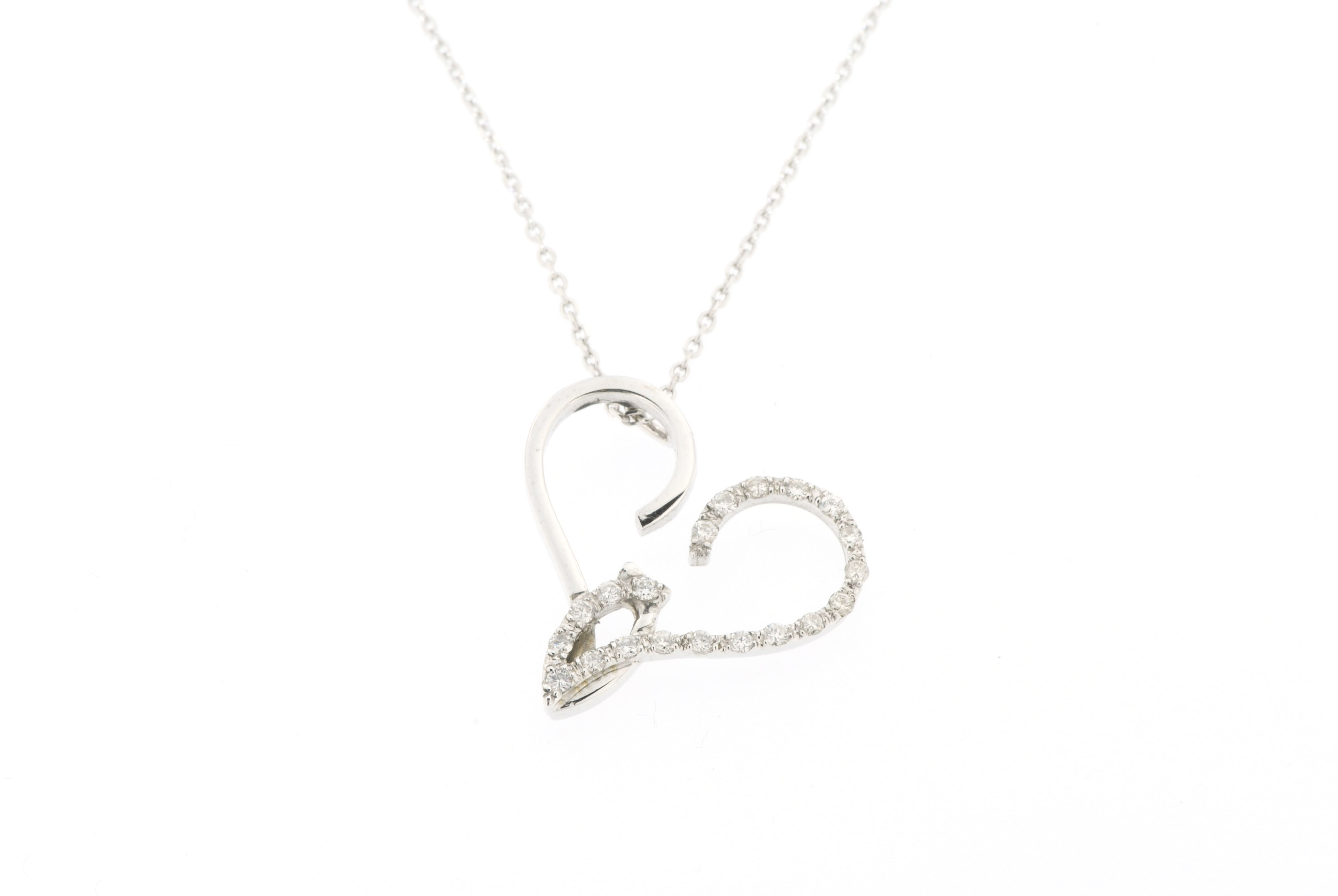 14k-white gold diamond angel necklace