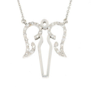 White Gold Diamond Angel Necklace