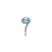 190968NBS Silver Ring Radiant Embellishment, Sky Blue Crystal & Clear CZ
