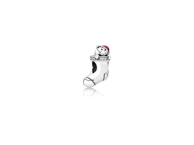 791773CZ Christmas Stocking With Red Enamel & Clear CZ