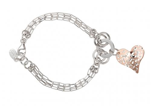 Silver 2-Tone Heart Bracelet