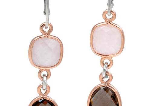 Silver 2-Tone Smokey Quartz Earrings