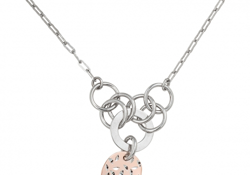 Silver 2-Tone Heart Necklace