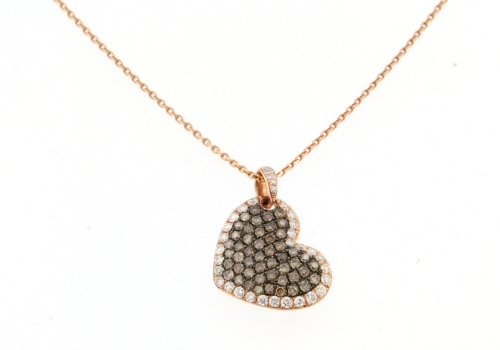 Chocolate Diamond Heart Necklace