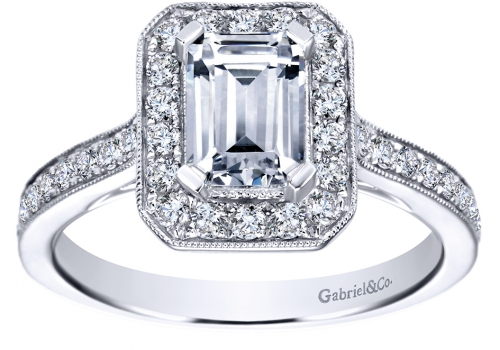 Gabriel Emerald Halo Engagement Ring