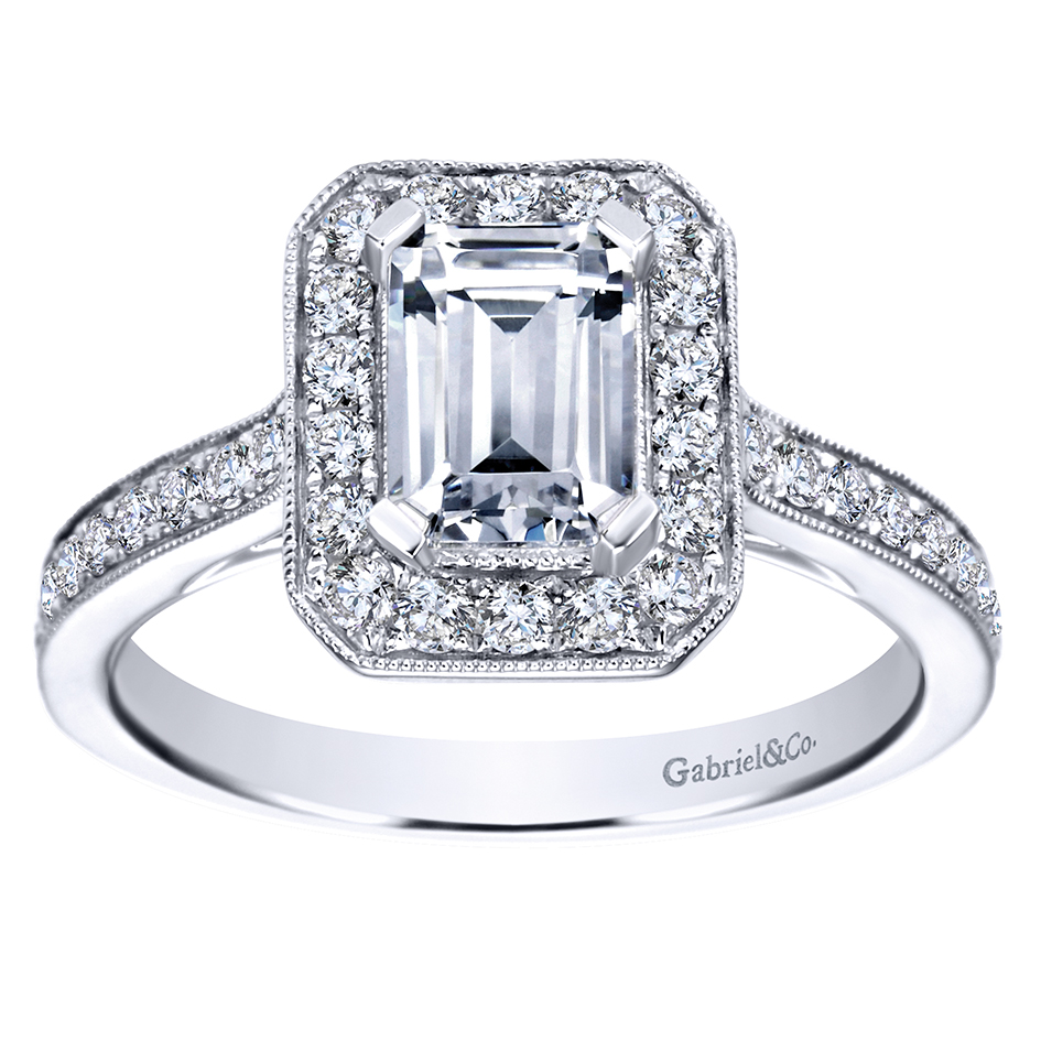 gabriel emerald halo engagement ring j douglas jewelers