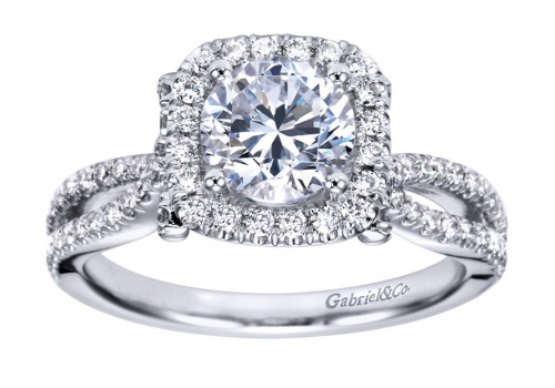 Gabriel Twist Halo Engagement Ring