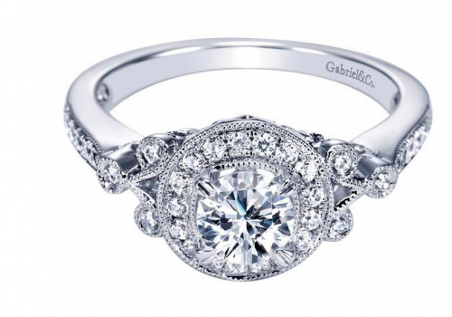 Gabriel Victorian Halo Engagement Ring