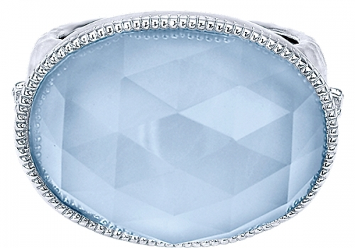 925 Silver Diamond Rock Crystal/Blue Jade Fashion