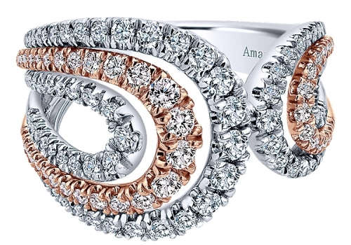 18k Layered White And Pink Gold Diamond Wide Band