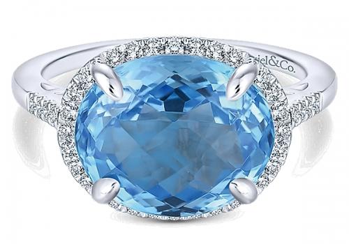 Gabriel&Co 14k White Gold Lusso Color Fashion Ladies' Ring