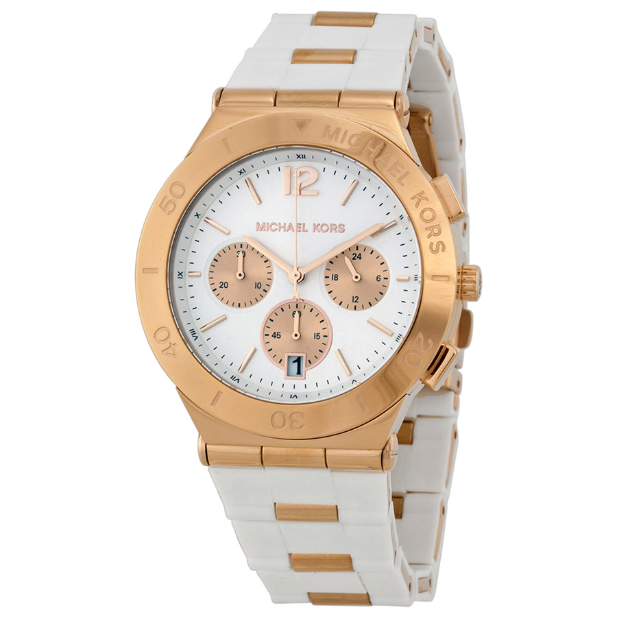 Michael Kors Wyatt Gold and White Watch MK5935